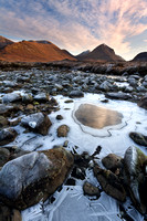 Marsco in Winter and the River Sligachan. Isle of Skye. Scotland.