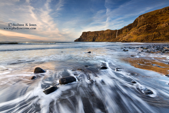 Talisker Beach, Cliff and Waves. Isle of Skye. Scotland.