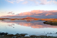 Cladach a'Bhaile Shear Sunset Reflection. Towards Eaval. North Uist. Outer Hebrides. Scotland.