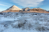 Glamaig and Red Cuillin. Snow. Sligachan. Isle of Skye. Scotland.