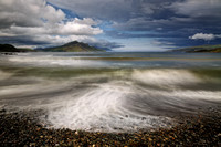 Ben Tianavaig from Braes Beach. Stormy weather in Summer. Isle of Skye. Scotland.