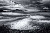 Ben Tianavaig from Braes Beach. Stormy weather in Summer. Mono Conversion. Isle of Skye. Scotland.