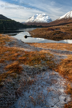 Liathach. Icy Puddle. Loch Clair. Glen Torridon. Wester Ross. Scotland.