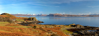 Aird pano in Autumn. 30ins x 11ins. Isle of Skye. Scotland.