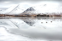 Ice and Snow. Blackmount in Winter. Lochan na h-Achlaise. Rannoch. Scotland.
