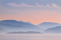 Ethereal. Loch Alsh misty view in pastel. Isle of Skye. Scotland.