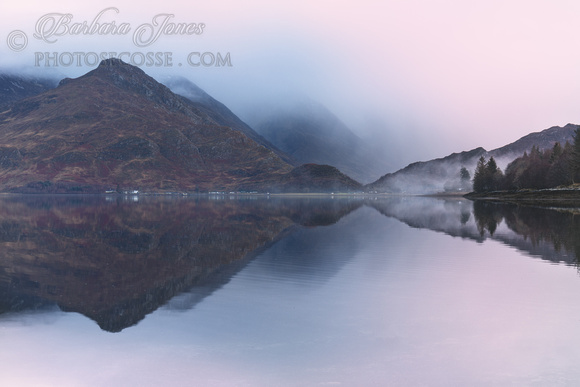 Five Sisters of Kintail. Misted out. Loch Duich. Scotland.