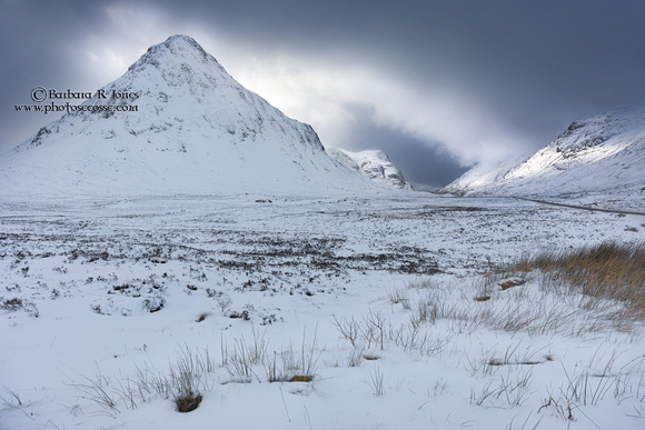 Buachaille Etive Beag and Glen Coe in Winter Scotland
