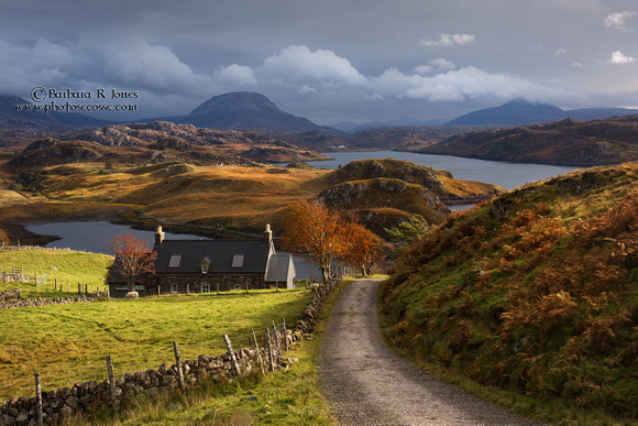 Loch Inchard Scene. Autumn Light. Arkle and Ben Stack. Scotland.