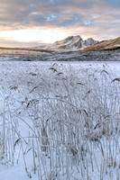 Blaven and Loch Cill Chriosd. Hoar Frost and Sunset. Isle of Skye. Scotland.