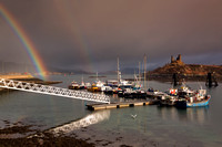 Kyleakin Harbour and Rainbow. Isle of Skye. Scotland.
