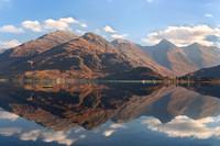Five Sisters of Kintail . Reflections. Loch Duich. North West Scotland.