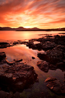 Ullinish Sunset and Macleods Tables. Loch Bracadale. Isle of Skye. Scotland.