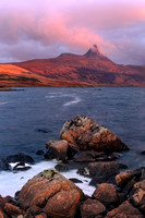 Coigach. Stac Pollaidh. Loch Bad a Ghaill Winter Sunset. North West Highlands. Scotland.
