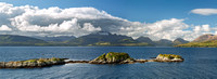 Tokavaig. Panorama of the Cuillins in Summer. Sleat. isle of Skye. Scotland.