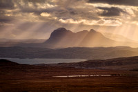 Suilven Sunbeams . Coigach. North West Scotland.