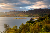 Loch Duich and Eilean Donan Castle from Carr Brae. Skye and Lochalsh. North West Highlands. Scotland.
