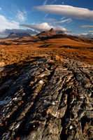 Aird of Coigach. Inverpolly Hills evening light. North West Geopark. Scotland.