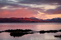 Knoydart from Armadale at Sunset in Winter. Sleat Peninsula. isle of Skye. Scotland