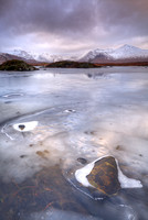 Blackmount.  Lochan na h-Achlaise. Reflections in the Ice. Rannoch. Highland Scotland.