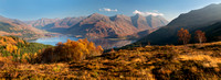 Five Sisters of Kintail and Loch Duich in Autumn. North West Highlands of Scotland.