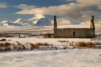 "Ben Hope and Moine House Ruin in Winter. A' Mhoine. Sutherland. ""North Coast 500"", Scotland."