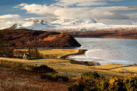 "Ben Hope in Winter, across the Kyle of Tongue. ""North Coast 500"", Sutherland. Scotland."