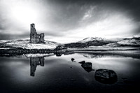 Ardvreck Castle and Quinag in Winter. Loch Assynt.  Mono. North West Geopark. Scotland.