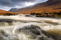 Glen Etive. River Etive in Spate. Alltchaorunn. Highland Scotland.