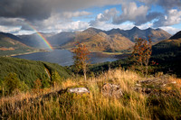 Five Sisters. Rainbow. Mam Ratagan. Kintail. Highland Scotland.