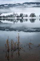Loch Lubnaig. Snow and Mist. Trossachs National Park. Highland Scotland.