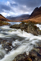 River Etive in Spate. Alltchaorunn. Highland Scotland.