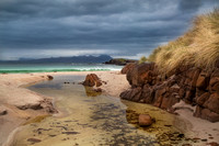 Mellon Udrigle Machair and Rock Pool. View to Coigach. Wester Ross. Scotland.