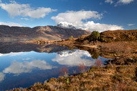 Slioch Reflection. Sunny Day in Winter. Wester Ross. Scotland.