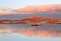 Eaval reflection at Sunset. Cladach a' Bhaile Shear. North Uist. Western Isles. Scotland.