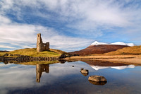 Ardvreck Castle and Quinag Refelction. Loch Assynt. Highland Scotland.