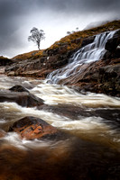 Glen Etive. River Etive. Waterfall and Tree #1. Highland Scotland.