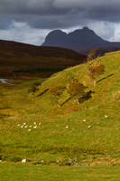 Suilven from Elphin, sun and shadow. North West Highlands. Scotland.