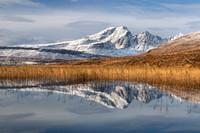 Blaven, Reeds and Snow in Autumn. LF. Torrin. Isle of Skye. Scotland.