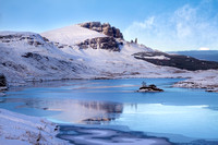 Old Man of Storr, snow. Loch Fhada. Trotternish. Isle of Skye. Scotland.