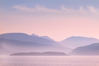 Loch Alsh misty view in pastel. Isle of Skye. Scotland.