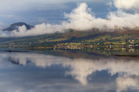 Lochcarron village and misty reflections. North West Highlands. Scotland.