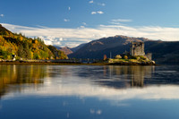 Eilean Donan Castle and Loch Duich from Dornie. North West Highlands. Scotland.