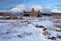 Kilchrist Ruin in the Winter and Ben na Caillich . Strath Suardal. Isle of Skye. Scotland.