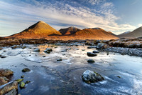 Sligachan. Red Hills and frozen River . Isle of Skye. Scotland.