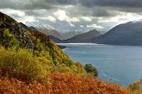 Five Sisters and Loch Duich. Carr Brae, Autumn. Scottish Highlands.