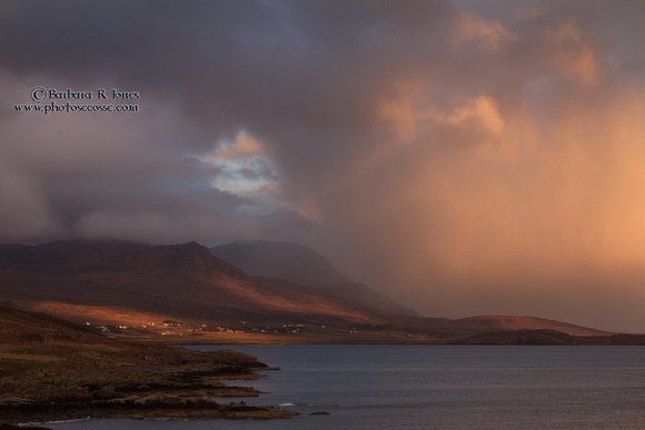 Achiltibuie from Polbain, stormy light at sunset. North West Scotland.
