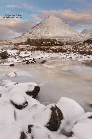 Glamaig, Sligachan, reflected in the ice. Isle of Skye. Scotland.