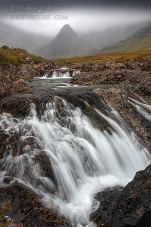 Fairy Pools in dismal weather. Glen Brittle . Isle of Skye. Scotland.