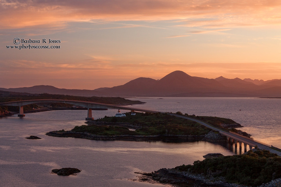 Isle of Skye Bridge, Summer Sunset, from Kyle of Lochalsh, Scotland.